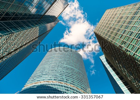 Blue skyscraper facade. office buildings. modern glass silhouettes of skyscrapers, in Moscow - stock photo