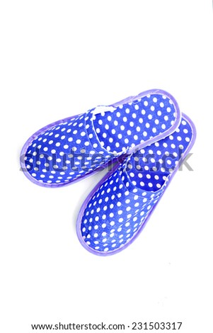 Blue slippers on a white background - stock photo