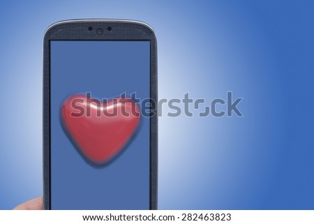 Blue smartphone and blister heart shape. Idea for Valentines Day messages, love, lovers, love apps, Internet, blogs and others. - stock photo