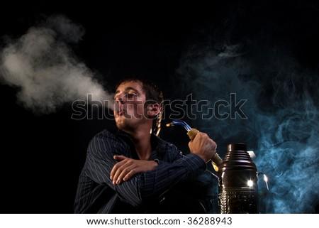 Blue smoke - stock photo