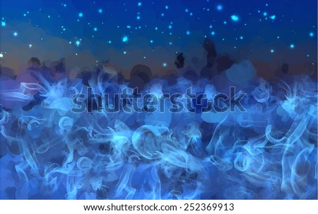 Blue smoke and sky background. Raster version - stock photo