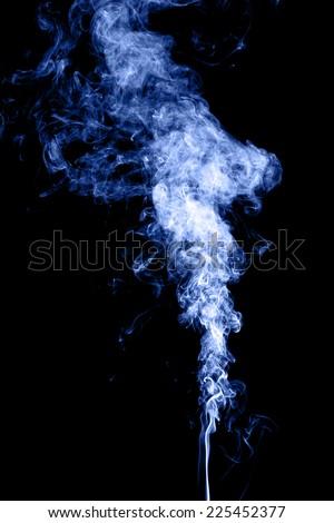 Blue smoke isolated on black - stock photo