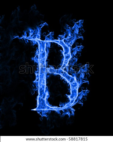 R Letter In Blue Fire Blue Flame Letter B - ...