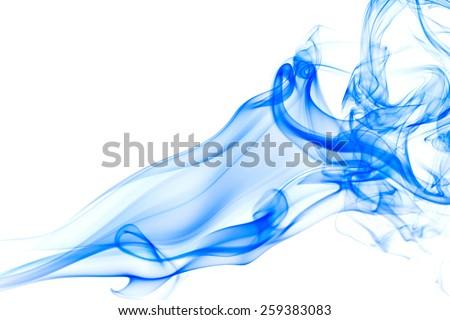 blue smoke on white background. - stock photo
