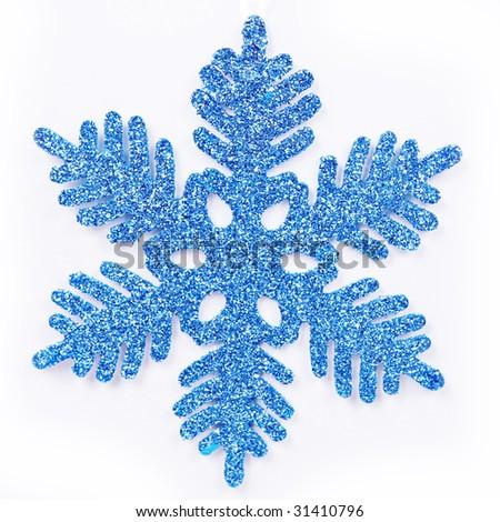 Blue Snow Flake ornament - stock photo