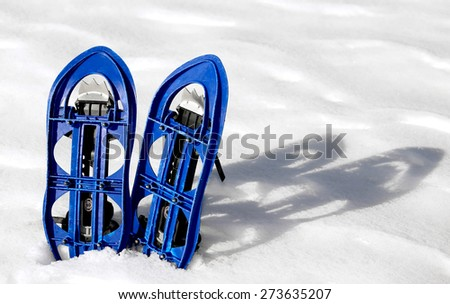 Blue SNOWSHOES for excursions on the snow in the mountains - stock photo