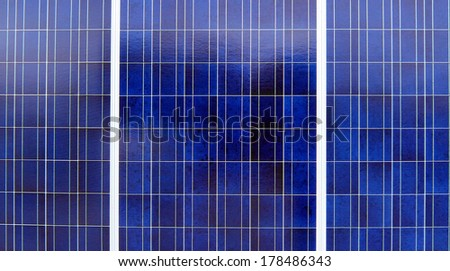 Blue Solar Panels or photovoltaics to generate solar energy. Selective focus. - stock photo