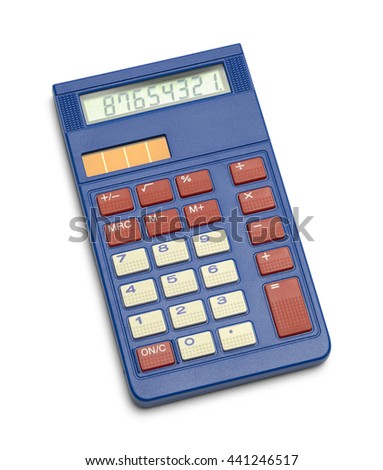Blue Solar School Calculator Isolated on White Background. - stock photo