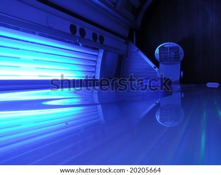 Blue solarium ready for use - stock photo