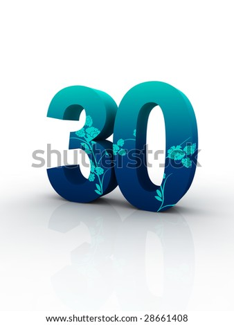 blue solid number decorated by blue fashion pattern isolated with white background. - stock photo
