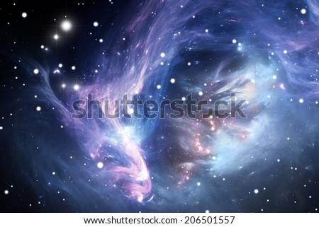 Blue space nebula - stock photo