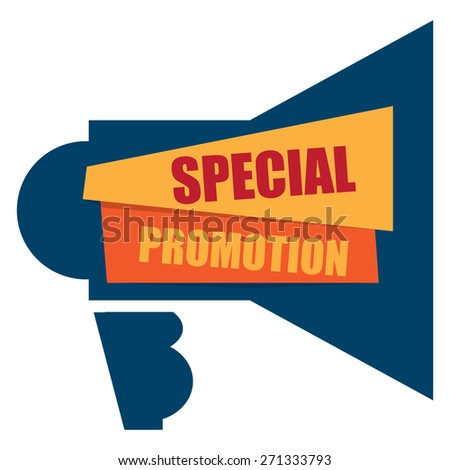 Blue Special Promotion Megaphone Banner, Sign, Label or Icon Isolated on White Background - stock photo
