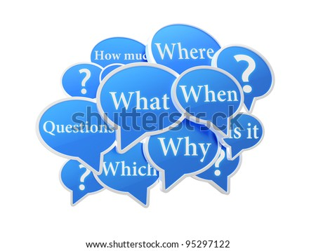 Blue speech bubbles with questions - stock photo
