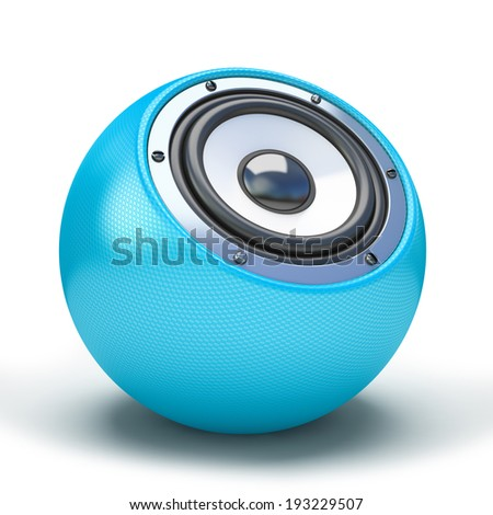 blue sphere speaker 3D - stock photo