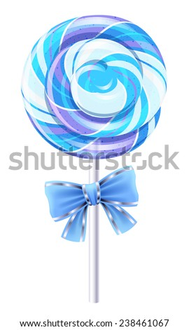 Blue spiral lollipop with a bow. Round candy on stick. - stock photo