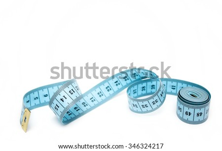 Blue spiral measuring tape isolated on white background. - stock photo