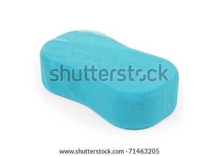 Blue sponge on white background - stock photo