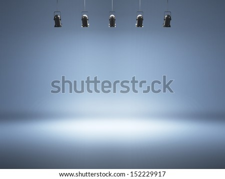 blue spotlight background with lamps - stock photo