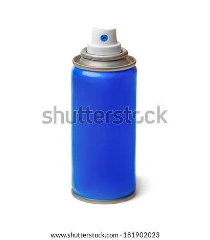 Blue spray bottle, isolated on white background. - stock photo