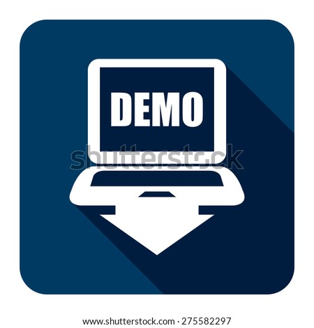 Blue Square Computer Laptop With Demo Text on Screen Monitor Flat Long Shadow Style Icon, Label, Sticker, Sign or Banner Isolated on White Background - stock photo