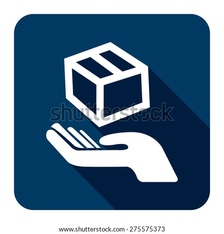 Blue Square Hand With Box, Handle With Care, Do Not Drop Flat Long Shadow Style Icon, Label, Sticker, Sign or Banner Isolated on White Background - stock photo