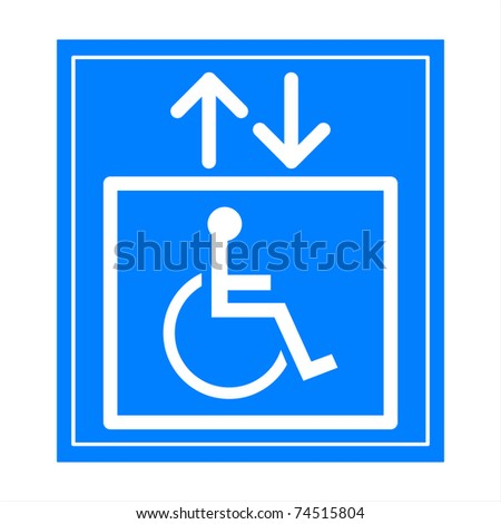 Blue square handicap sign with wheelchair  elevator - stock photo