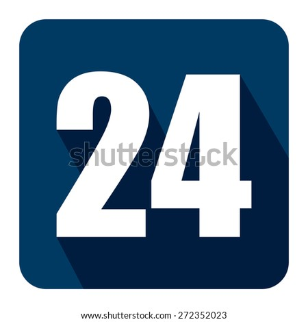 Blue Square 24, 24HR, 24HRS, 24 Hours Service, 24 Hours Open Long Shadow Style Icon, Label, Sticker, Sign or Banner Isolated on White Background - stock photo