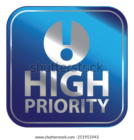Blue Square Metallic High Priority Icon, Sign, Sticker or Label Isolated on White Background  - stock photo