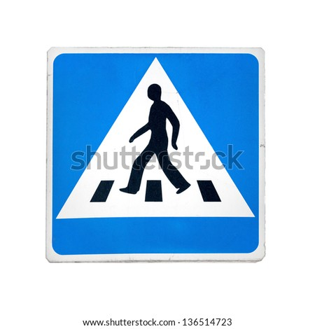 Blue square pedestrian crossing sign isolated on white - stock photo