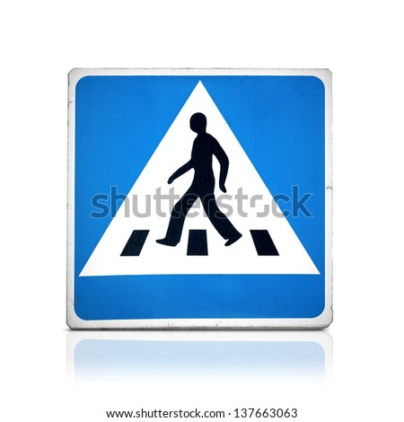 Blue square pedestrian crossing sign isolated on white with reflection - stock photo