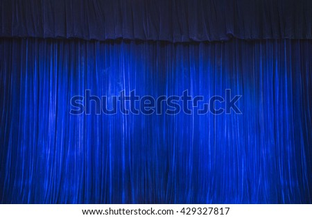 Blue Stage Curtain - stock photo