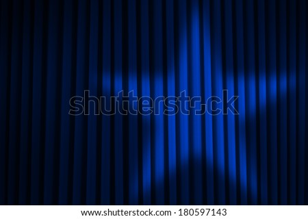 Blue Stage Curtain With Star Spotlight. - stock photo