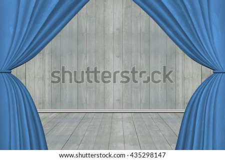Blue stage curtains, on old wooden wall and floor background,3D illustration - stock photo