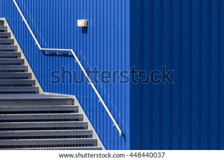Blue stairway - stock photo