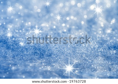 blue star and glitter sparkles all occasion background , super macro shot, 2013 shallow DOF - stock photo