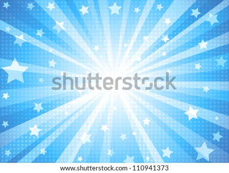Blue Star-burst Background - stock photo