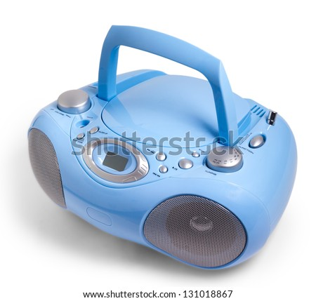 blue stereo CD mp3 radio cassette recorder isolated on white - stock photo