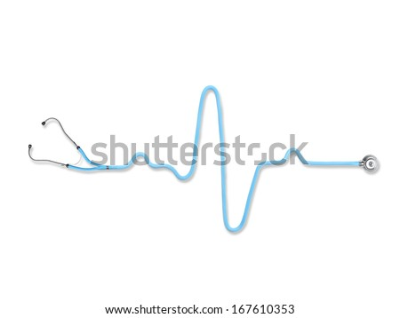 Blue stethoscope in the shape of heart beat on white background - stock photo
