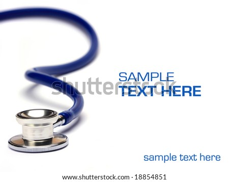blue stethoscope isolated in white background - stock photo
