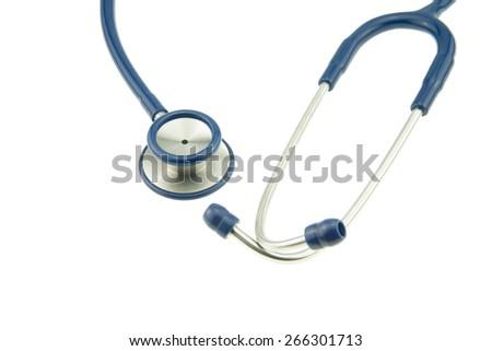 Blue stethoscope isolated on white background - stock photo