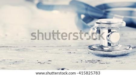 blue stethoscope place  - stock photo