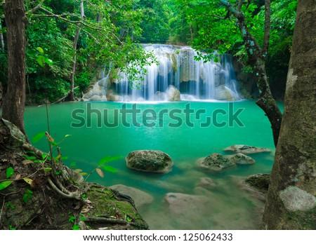 Blue stream waterfall at Erawan waterfall National Park Kanjanaburi Thailand - stock photo