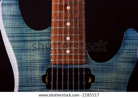 Blue 7-string guitar - stock photo