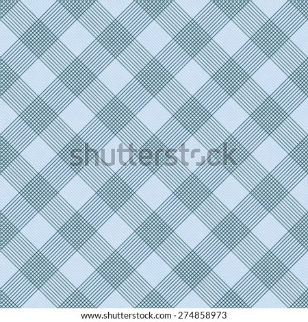 Blue Striped Gingham Tile Pattern Repeat Background that is seamless and repeats - stock photo