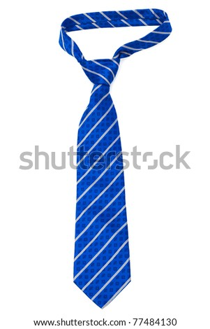 blue striped necktie on a white background - stock photo