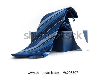 blue striped necktie on white - stock photo