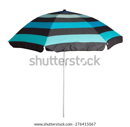 Blue striped umbrella isolated on white. Clipping path included. - stock photo