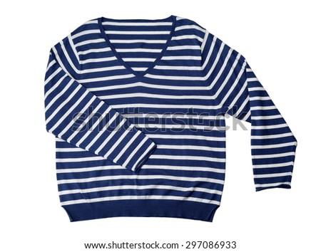 Blue striped wool sweater. Isolate on white. - stock photo