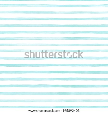 blue stripes on white background watercolor painting - stock photo