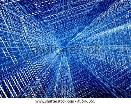 Blue structural wired abstract spatial three dimensional background - stock photo